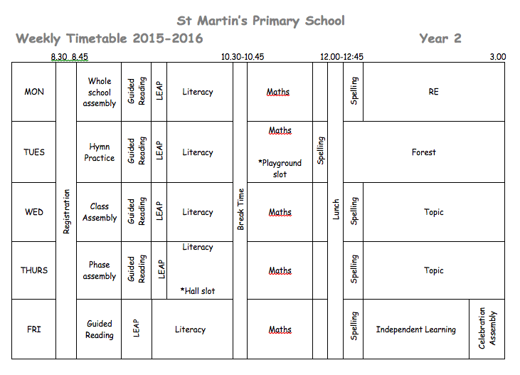 Finches Timetable